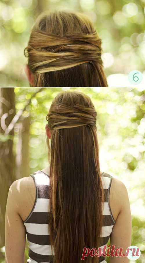Офисная прическа для длинных волос