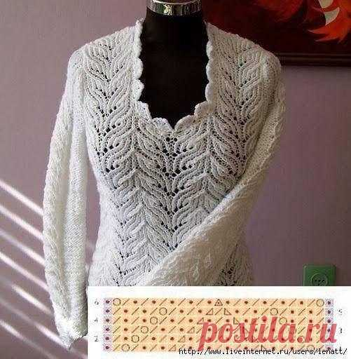 Простой узор - красивый пуловер!
