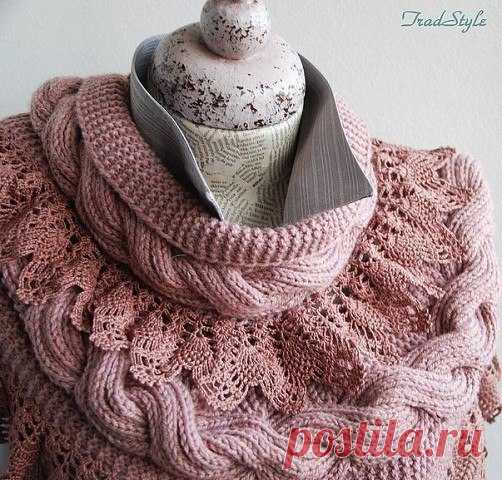 Large braids, openwork coast - we knit beautiful snud!