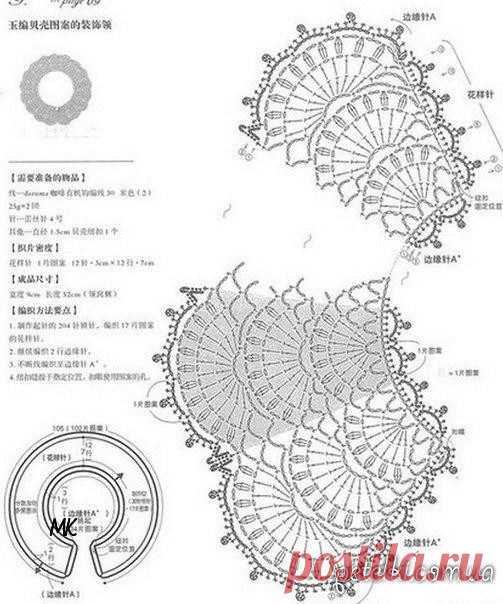Ажурный воротничок с бисером. Схема (Вязание крючком) — Журнал Вдохновение Рукодельницы