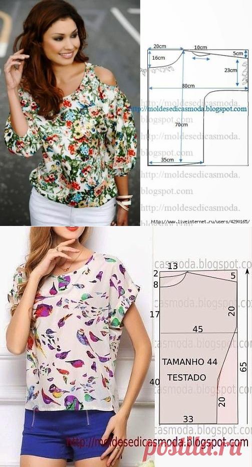 fa184234a7c Простые выкройки - интересные варианты красивых летних блузок