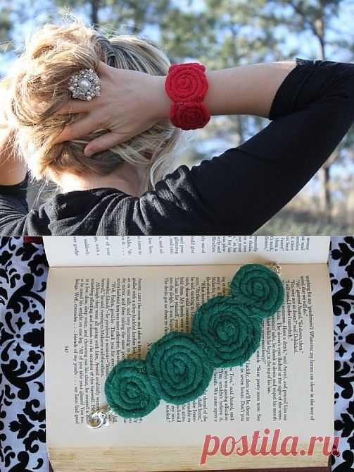 Трикотажный браслет / Украшения и бижутерия / Модный сайт о стильной переделке одежды и интерьера