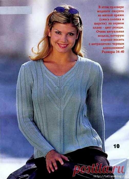 Пуловер цвета резеды