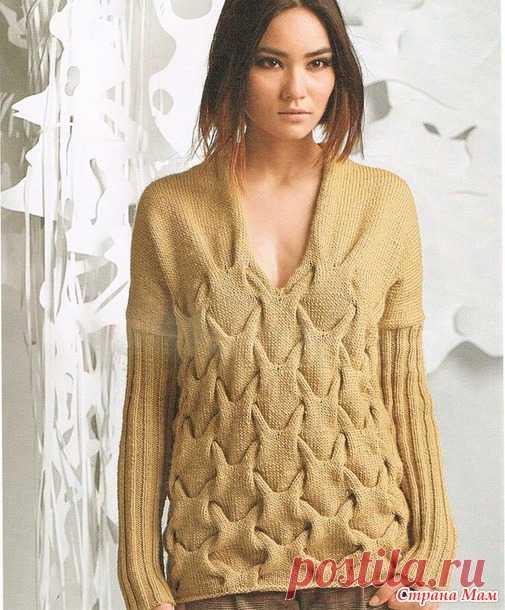 Стильный пуловер спицами - Вязание - Страна Мам