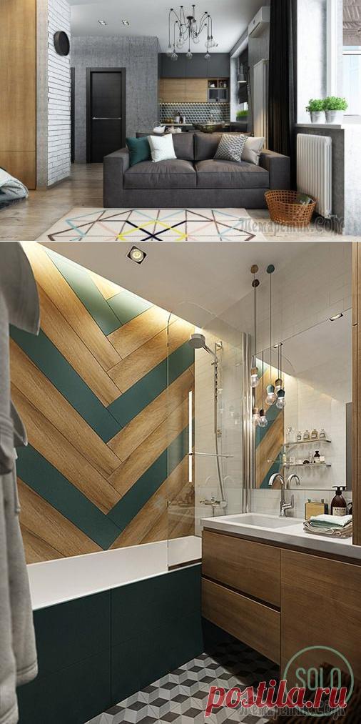 Дизайн студии 35 кв. м. со спальней в нише