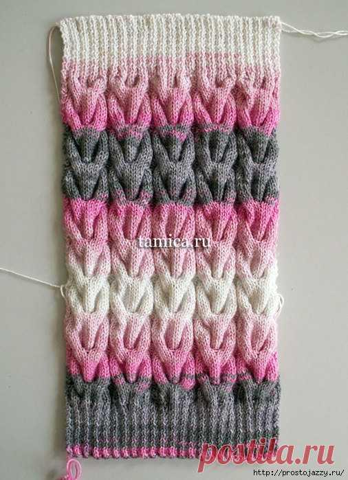 фасонный жгут спицами очень красивый узор вязание узоры спицами