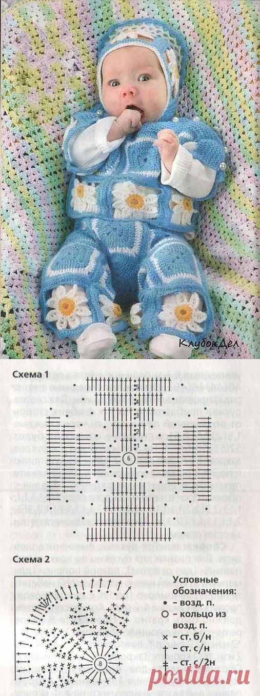 Комплект для новорожденного крючком - Ромашки.
