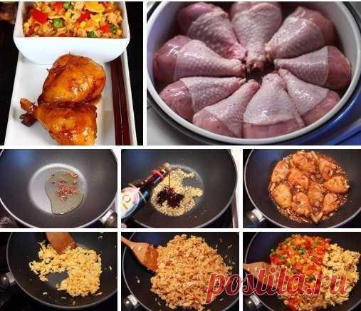 ГЛАЗИРОВАННЫЕ КУРИНЫЕ НОЖКИ   Ингредиенты:  ● Куриные голени или крылышки - 400 г.   Для маринада:  ● Вино белое сухое - 4 ст. л.  ● Соль, черный перец по вкусу   Для соуса к курице:  ● Чеснок - 6 зубчиков  ● Корень имбиря - 4 см  ● Кунжутное масло - 2 ст.л.  ● Соевый соус Киккоман - 4 ст.л.  ● Коричневый сахар - 2 ст.л.  ● Рисовый уксус - 2 ст. л.  ● Чили - 1 шт.  ● Сычуаньский перец (горошком) - 1 ч. л.   Для жареного риса:  ● Отварной рис - 3 стакана  ● Яйца - 2 шт.  ● ...