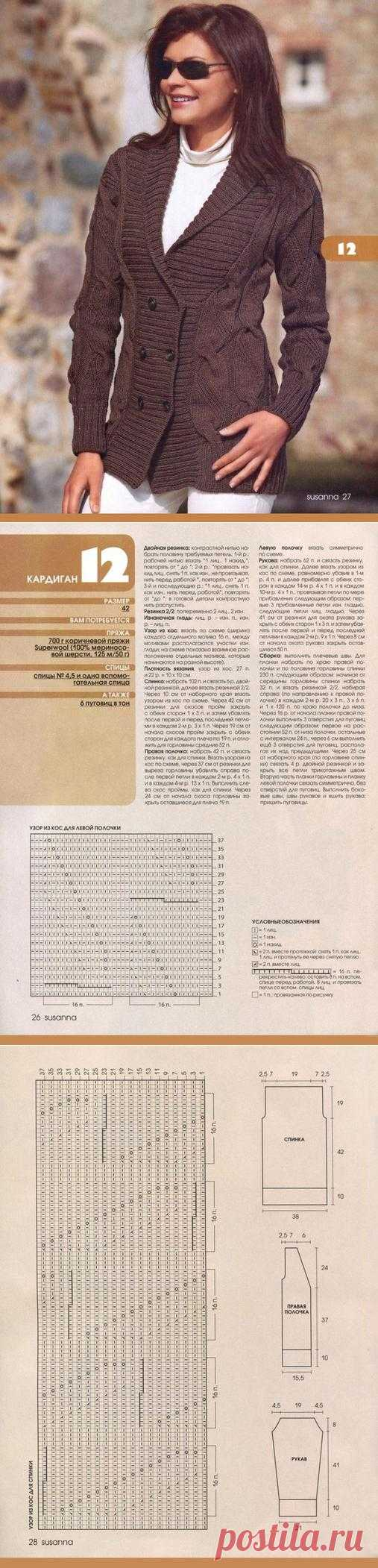 Блоги@Mail.Ru: Двубортный кардиган спицами
