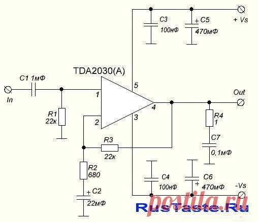 Простой и доступный усилитель 18(14)Вт TDA2030A (TDA2030)   Наверное, один из самых простых доступных и дешевых усилителей является усилитель TDA2030A,TDA2030,TDA2050,LM1875 Преимущества усилителя: — Во-первых, цена готового продукта — Во-вторых, качество звука — В-третьих, простая сборка