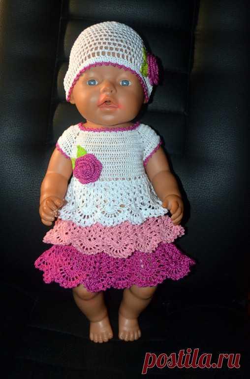вязаные вещи ручной работы вяжем платье для Baby Born вязание