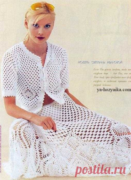 White summer suit hook. Scheme and description of knitting of a summer women's suit. White summer suit: the jacket and a skirt connected by a hook. Scheme and description of knitting of a summer women's suit.