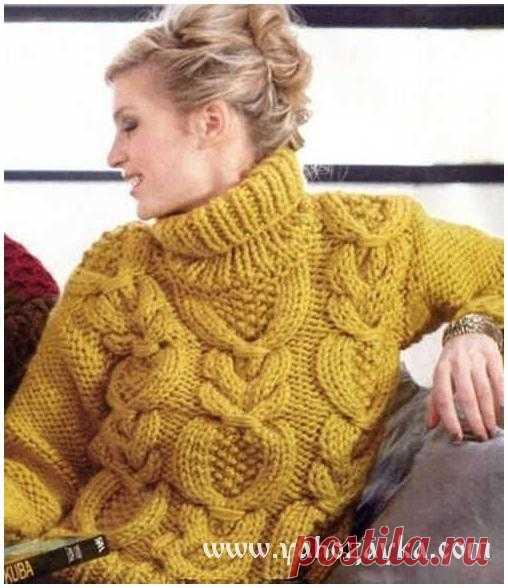 Женский свитер с косами схема. Свитер спицами узором ...