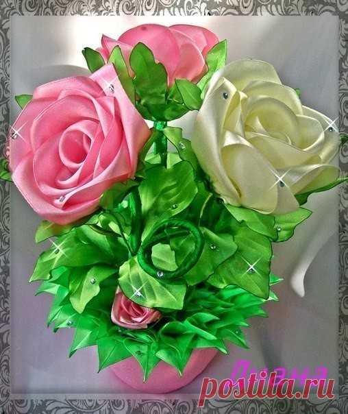 МК: Розы из ленты