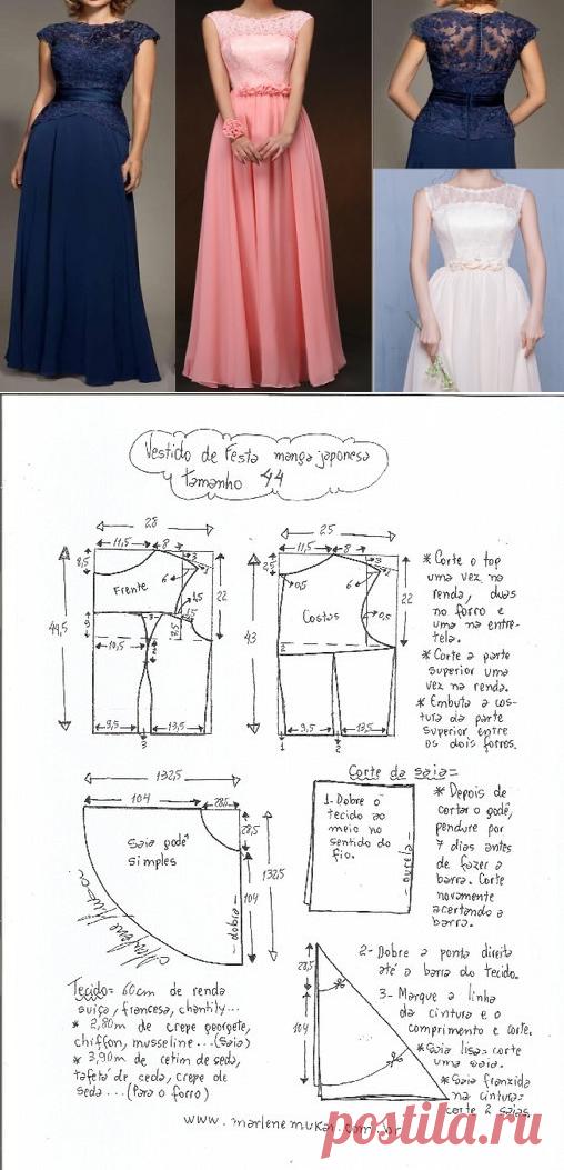 El patrón del vestido de noche con la manga japonesa. La dimensión ...
