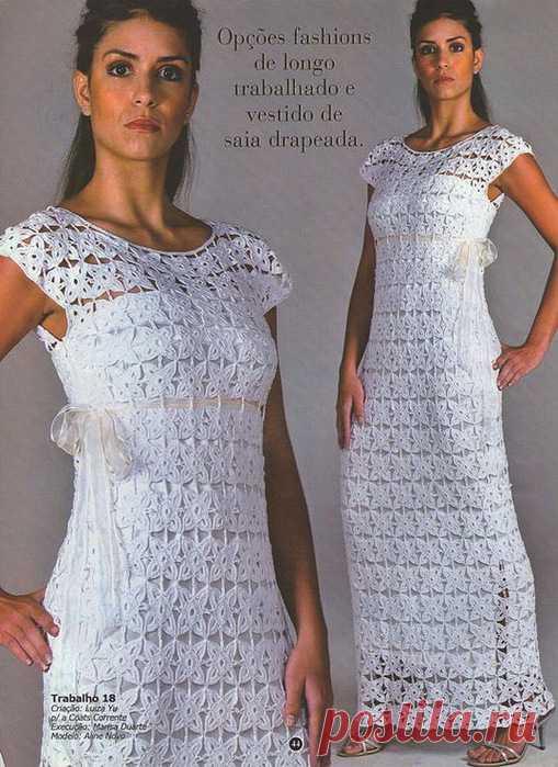 1955ae41bf9bd94 Длинное платье из мотивов крючком. Платье крючком из квадратных мотивов