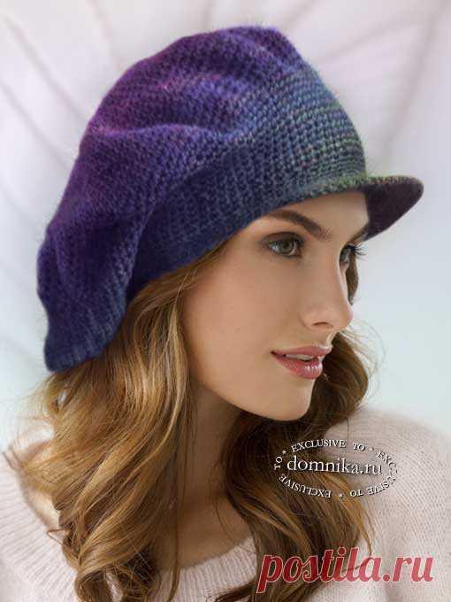 Вязание шапки крючком: объемный берет с козырьком - модная вязаная кепка