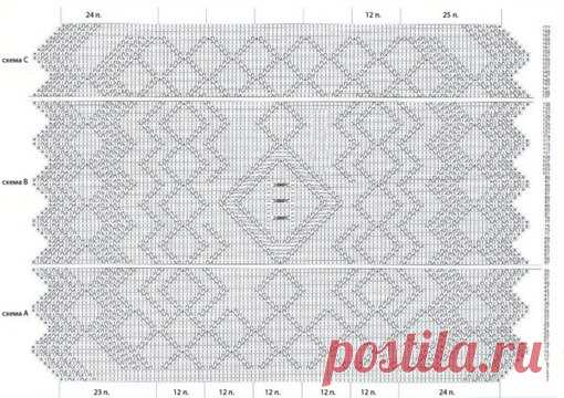 вязание пуховый платок схема вязания