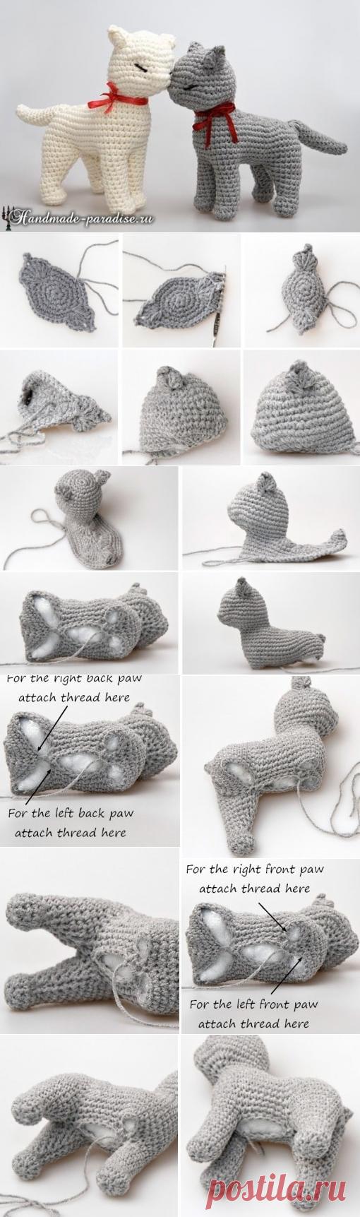 Cat of an amiguruma. Description of knitting by a hook