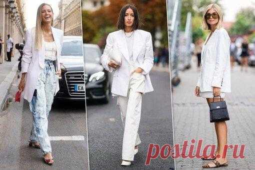 Как и с чем носить белый блейзер летом-2020 Белый пиджак – отличная альтернатива темным «зимним» жакетам, которая подходит ко многим летним образам. С чем носить белый пиджак или жакет пастельных оттенков? Мы собрали несколько идей. Белый пиджа...