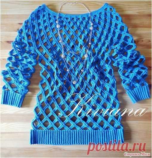 Пуловер-сетка крючком