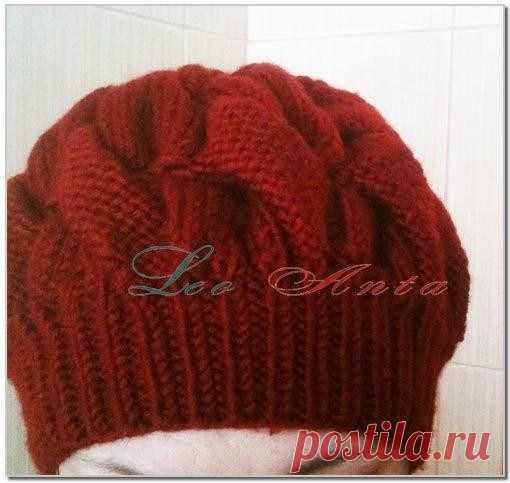 Женская шапка берет спицами с описанием (Вязание спицами) — Журнал Вдохновение Рукодельницы