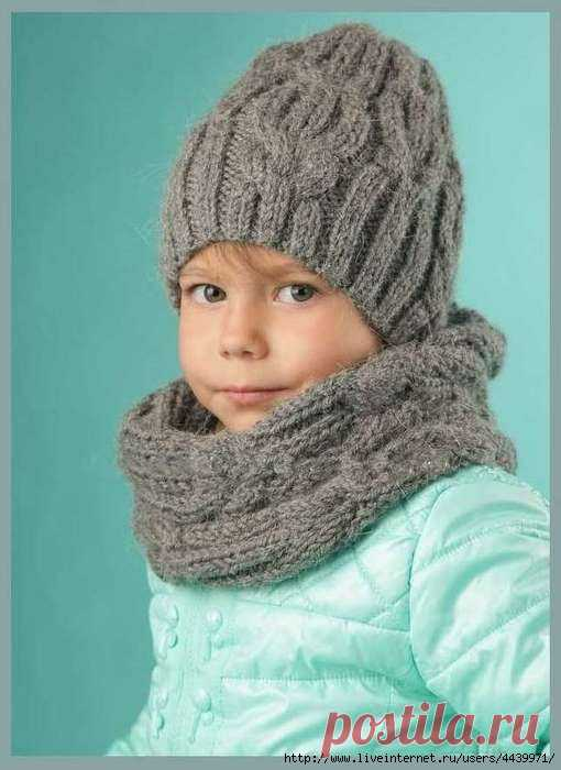 шапка и снуд для ребенка 3 5 лет вязание спицами вязание детям