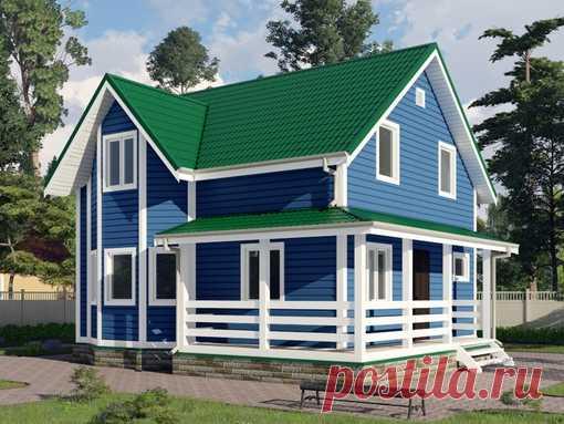Проект полутораэтажного дома 7 на 8 метров, с 4 спальнями для большой семьи. Общая площадь дома 118 м²   Кому понравился дом напишите