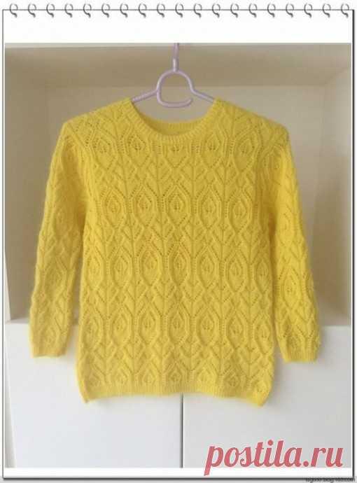 Солнечный пуловер, вяжем спицами