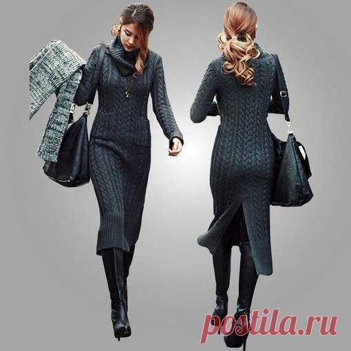 0f7ce6bdd85 Шикарное теплое платье спицами.  вязание  спицами