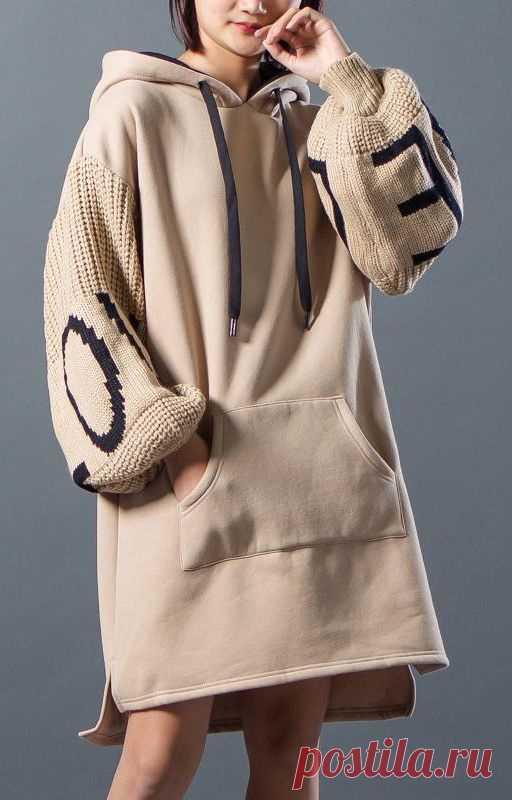 Кофта с вязаными рукавами Модная одежда и дизайн интерьера своими руками