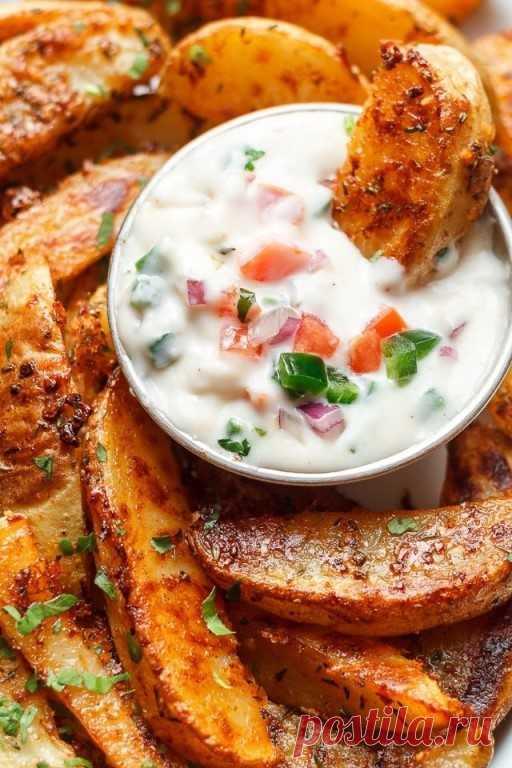 Картофельные дольки с чесноком и сыром 👍🍴