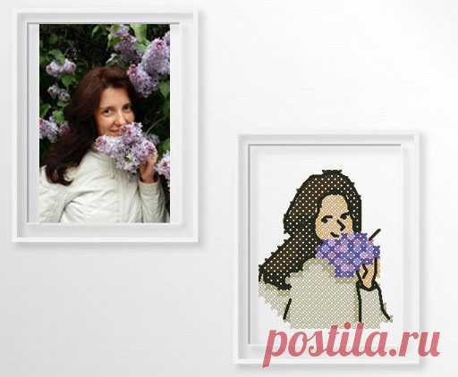 Схемы вышивки крестом по фото. Мои мини-портреты.