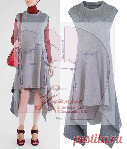 Выкройка платья трапеция с воланом для полных и средних размеров, и как сшить начинающим   Шьем с Верой Ольховской   Яндекс Дзен