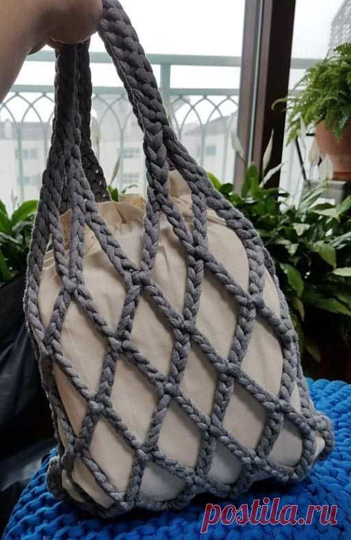 0a6d868a4f49 Сумка-авоська из трикотажной пряжи - схема вязания крючком. Вяжем Сумки на  Verena.