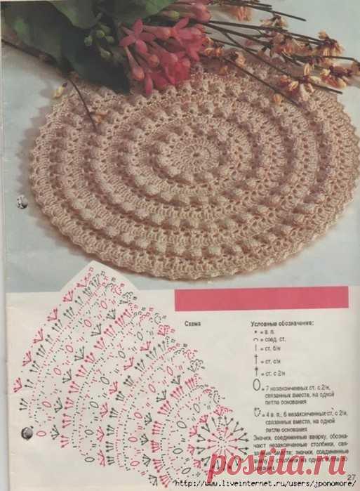 Красивый коврик с шишечками из трикотажных полосок