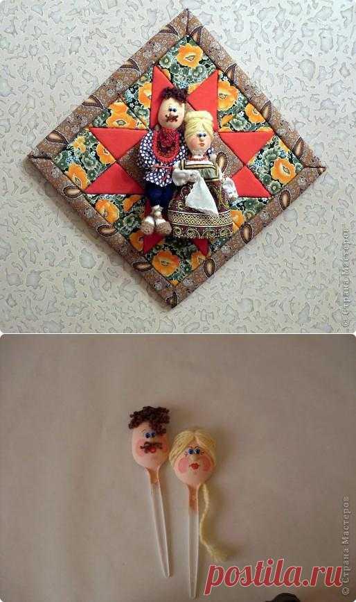 Кукла из пластиковой ложки. Панно. Мастер-класс..