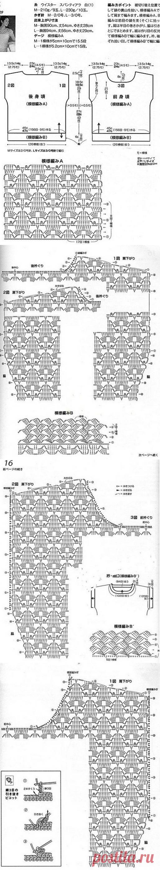Вязание ажурного топа крючком