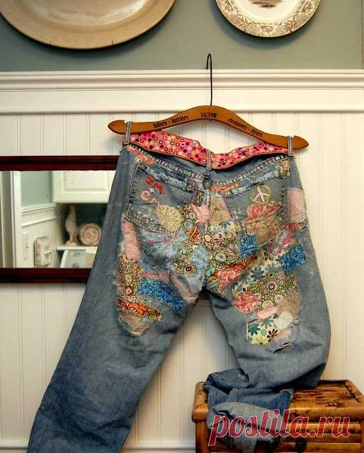 """Original way of repair of jeans. Japanese """"боро"""" equipment;. MK"""