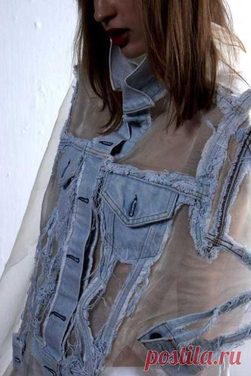 Куртка - гибрид джинсы и органзы (мастер-класс)