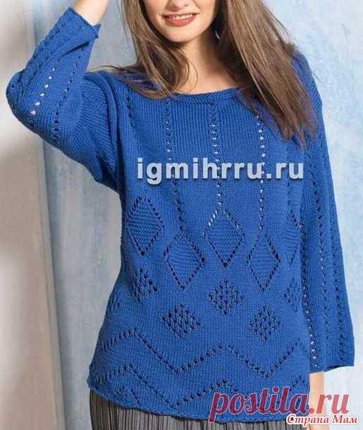 пуловер из хлопка спицами вязание страна мам летние кофточки