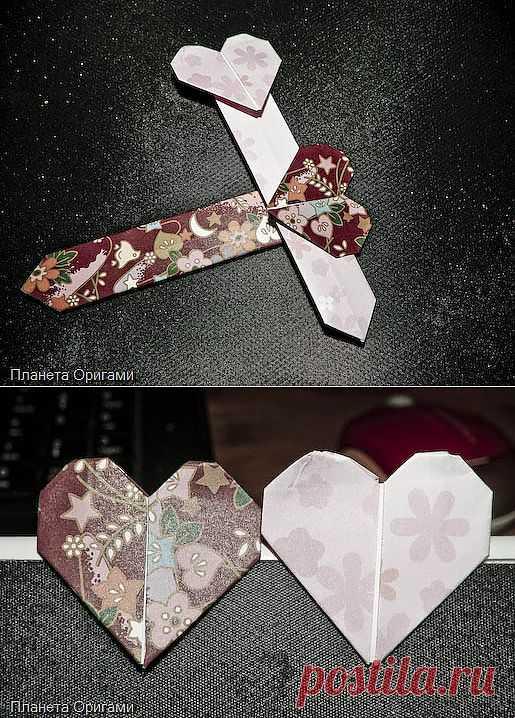 Закладка в форме сердечка по схеме Jo Nakashima