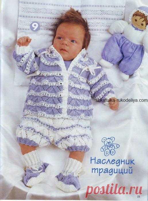 Комплект для малыша спицами Комплект для малыша спицами. Бело-голубой гарнитур на выписку новорожденному