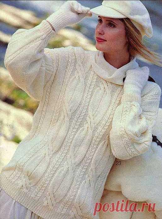 Вязание. Спицы. Пуловер-косы.