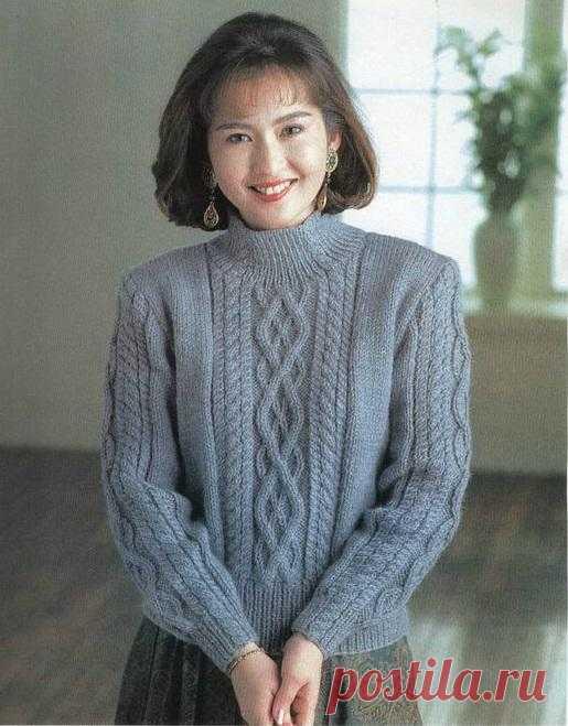 Серый пуловер с аранами | Шкатулочка для рукодельниц