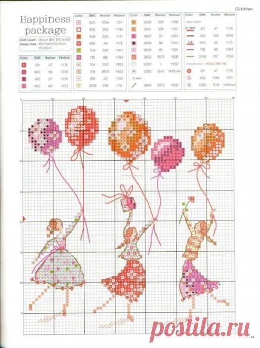 Миниатюрные девочки: подборка схем детской вышивки в копилочку