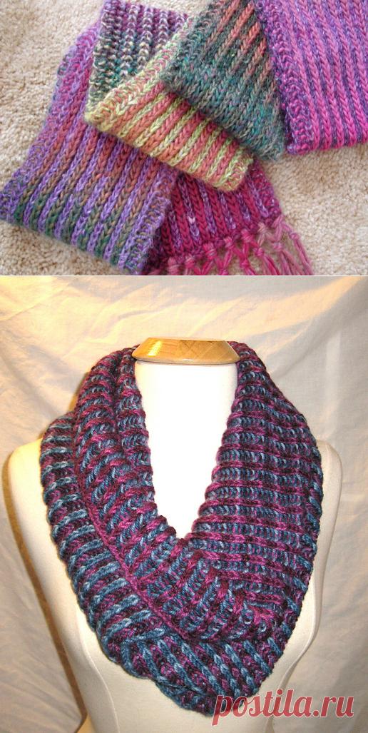 вязка шарфа спицами английской резинкой резинкой