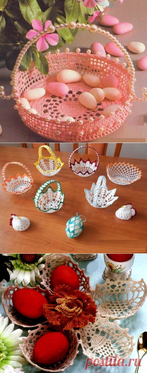 La labor de punto de Pascua por el gancho. Las cestas tejidas por el gancho. | el laboratorio de la economía casera