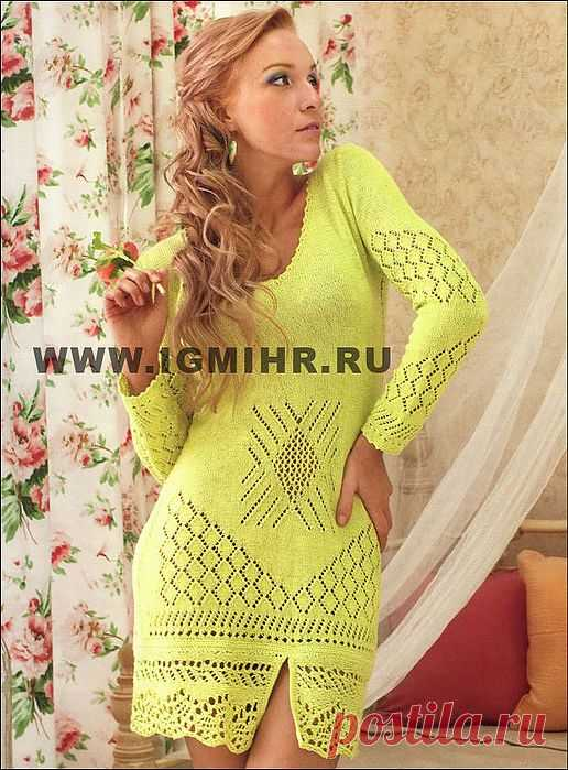 Short openwork dress of lime color.   Clever Fingers