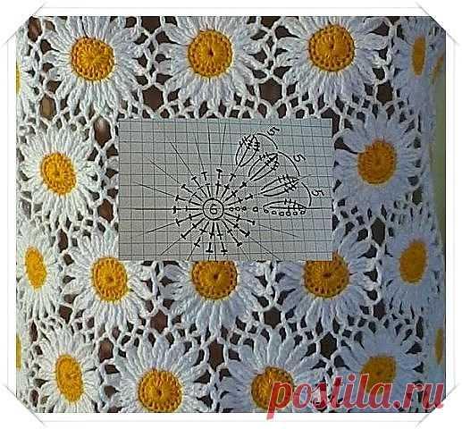 вязание из мотивов ромашки вязание цветов вязание крючком схемы